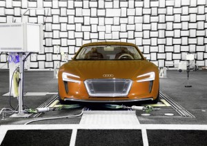 An Audi e-tron at the sound check