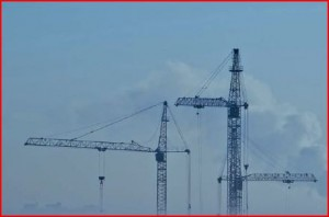 cranes in the air