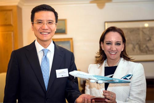 Cathay Pacific COO Cathay Pacific's Ivan Chu and Claudia Ruiz Massieu, secretary for tourism of Mexico