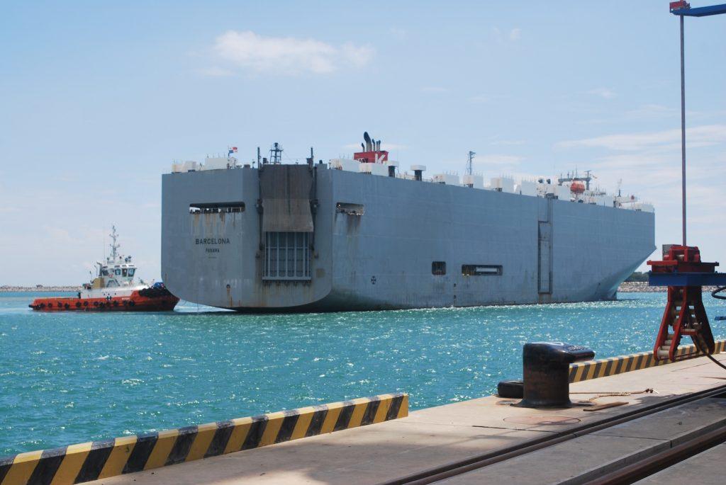 Car carrier MV Barcelona being berthed at Hambantota Port, Sri Lanka copy