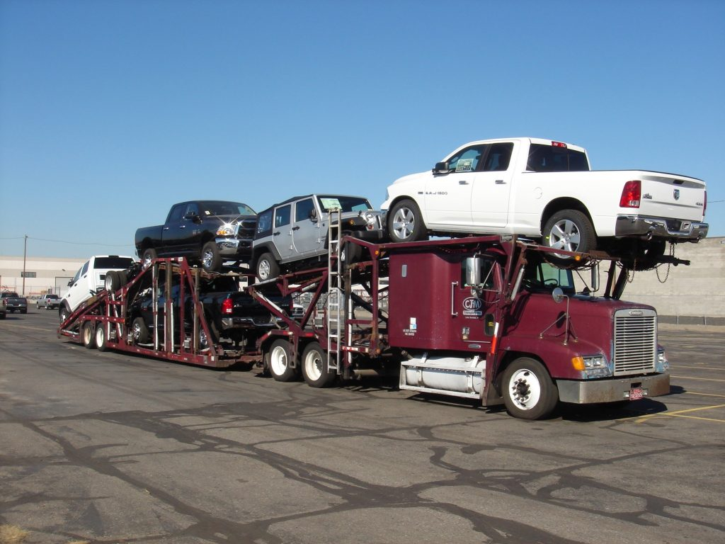 Chryslers on trailer