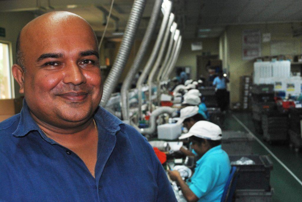 Lanka Harness Executive Chairman Rohan Pallewatta on the production floor