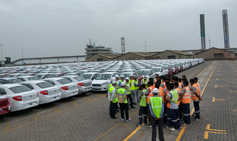 Briefing for staff at NYK Pipavav RoRo terminal (Picture from NYK)