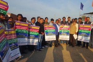 car_carrier_protest_Rajasthan