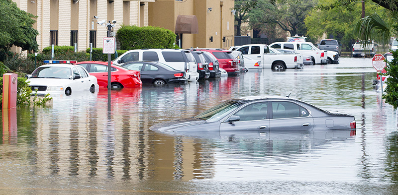 Flooded cars after Hurricane Harvey