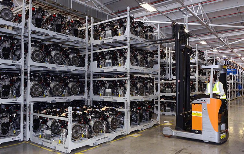 Still reach truck handling automotive components
