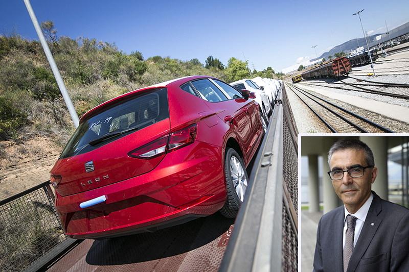 SEAT cars on rail wagon and (inset) Manuel Medina, vehicle distribution manager