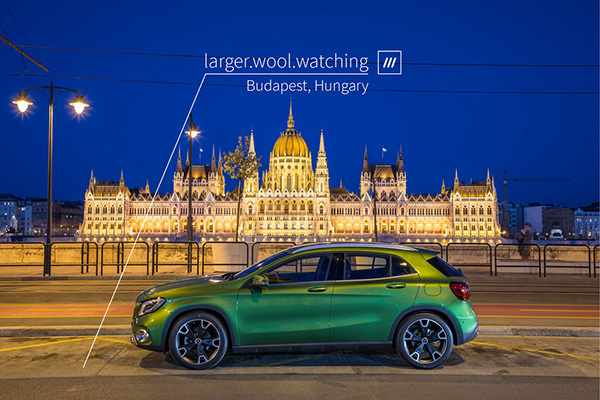 Car at What3words defined address in Hungary