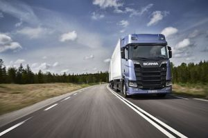 Scania truck on the road