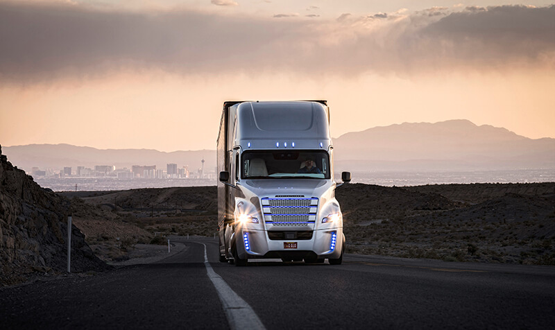 Freightliner truck on the road