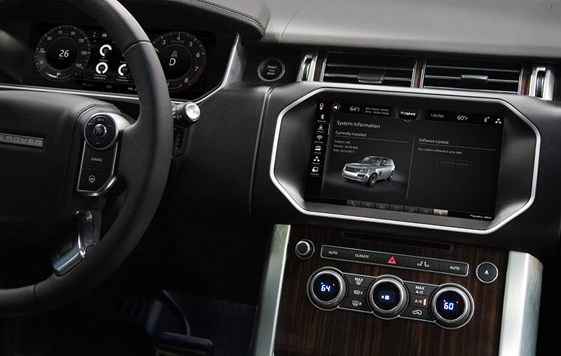 Dashboard console on JLR SUV