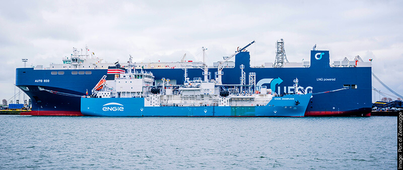 UECC vessel bunkering LNG fuel -Picture courtesy of the Port of Zeebrugge