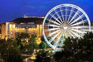 Kempinski Hotel Corvinus Exterior with Ferris wheel