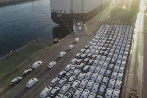 VW T-Roc units awaiting export at Leixões