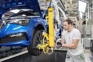All-new Scala on the assembly line at Škoda's Mladá Boleslav plant in the Czech Republic