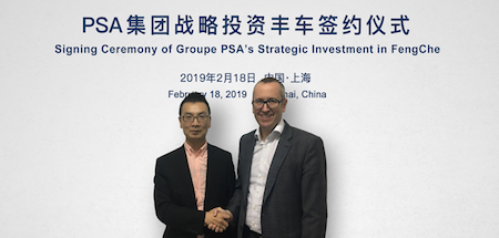 Tao Genyuen, FengChe founder (left) and Marc Lechantre, vice president of the Used Vehicles Business Unit at Groupe PSA