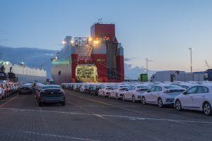Cars in port