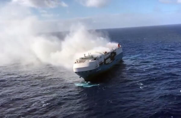 Sincerity Ace car-carrier on fire in Pacific Ocean