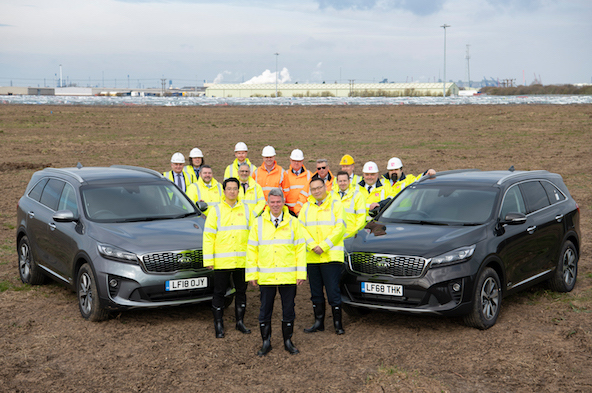 Representatives from Clugston Construction join Paul Philpott, president and CEO of Kia Motors UK