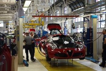 Línea de montaje de Maserati en Módena