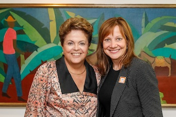 Dilma Rousseff (L) and Mary Barra (R)