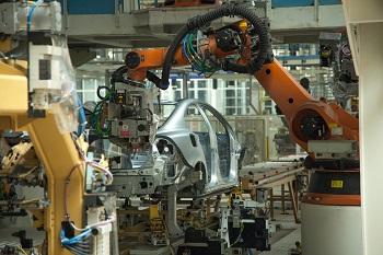 Planta de producción de automóviles de Volvo en Chengdu, taller de pintura.