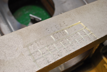 During fabrication each completed stage is marked by stamp