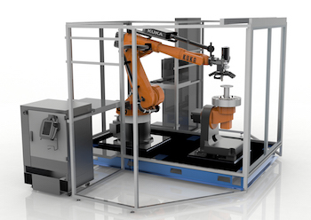 With Robotic-Composite, an applicator is mounted on the arm of a five-axis robot with the workpiece on a dynamic fixture which can rotate and move vertically