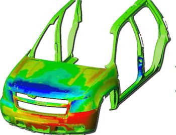 El sistema de Comau y Hexagon ofrece la reproducción de un objeto con una nube de puntos de diversos colores que indica las áreas de incumplimiento