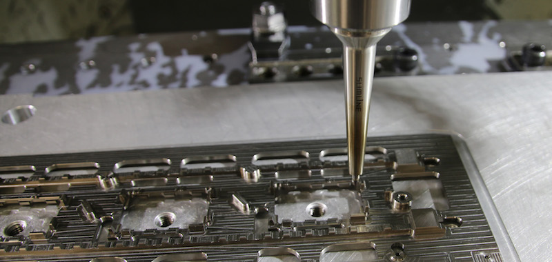 Mitsubishi 2.5mm diameter End Mill Machining Apertures on Base Plates