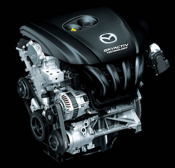 The SKYACTIV engine, above, is key part of Mazda's business objectives