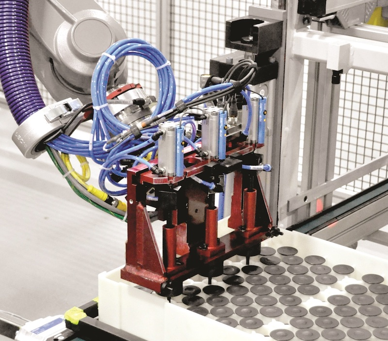 ATI Robotic Tool Changer and Force-Torque Sensor mounted on the wrist of the robot