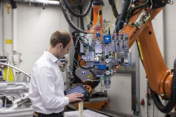 Audi's Jan Philipp Weberpals configuring the remote laser welding system