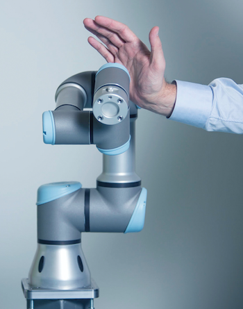 The latest generation of robots, such as the UR3 from Universal Robots, are designed and programmed to work in close proximity to human workers