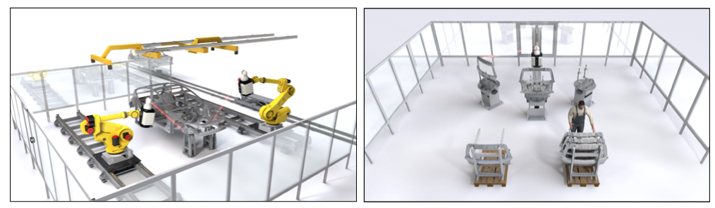 Left: Line-side inspection: A car body is taken from the line and fully inspected. Two or four robots guarantee the highest inspection productivity. After inspection the body is re-inserted into the production line. Right: Component inspection: a single Laser Radar on a lift inspects front and back of multiple components on rotate tables.