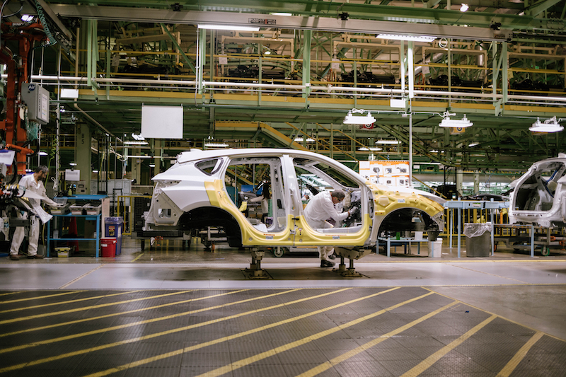 The 2019 Acura RDX making its way through the assembly line at the East Liberty Auto Plant